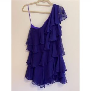 Halston Heritage Silk Ruffled Dress